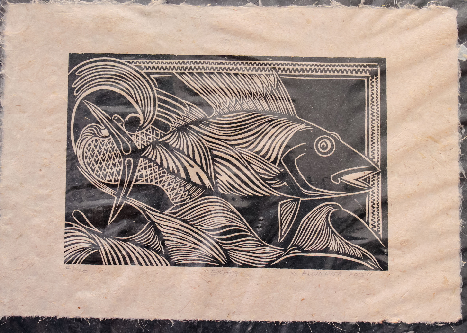 "A3 ""Ekata"" Woodblock print on Herekeke Paper"