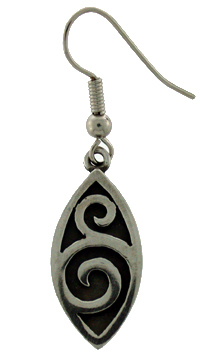 Earring pewter pointed oval double spiral