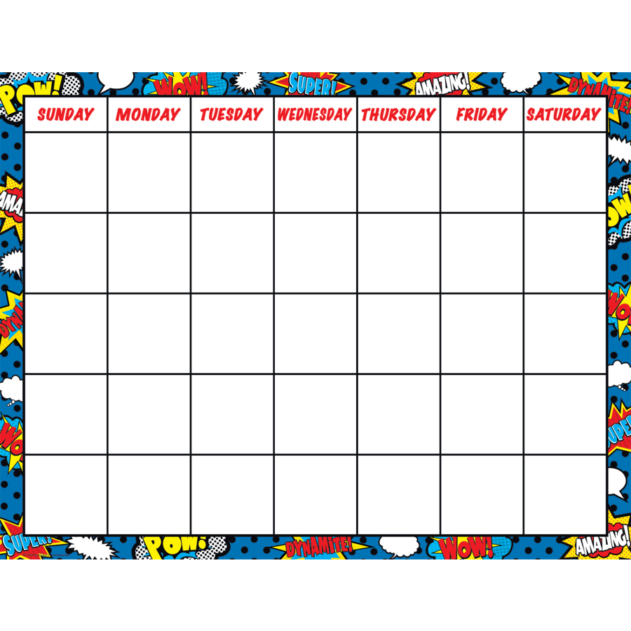 TCR 7569 SUPER HERO CALENDAR CHART