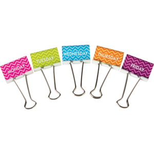 TCR 20668 CHEVRON DAYS OF THE WEEK LARGE BINDER CLIPS