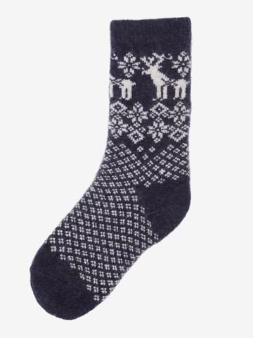LISA B. - TODDLER WOOL+CASHMERE REINDEER SOCKS NAVY