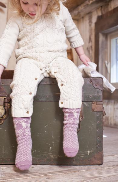 LISA B. - TODDLER WOOL+CASHMERE REINDEER SOCKS MAUVE