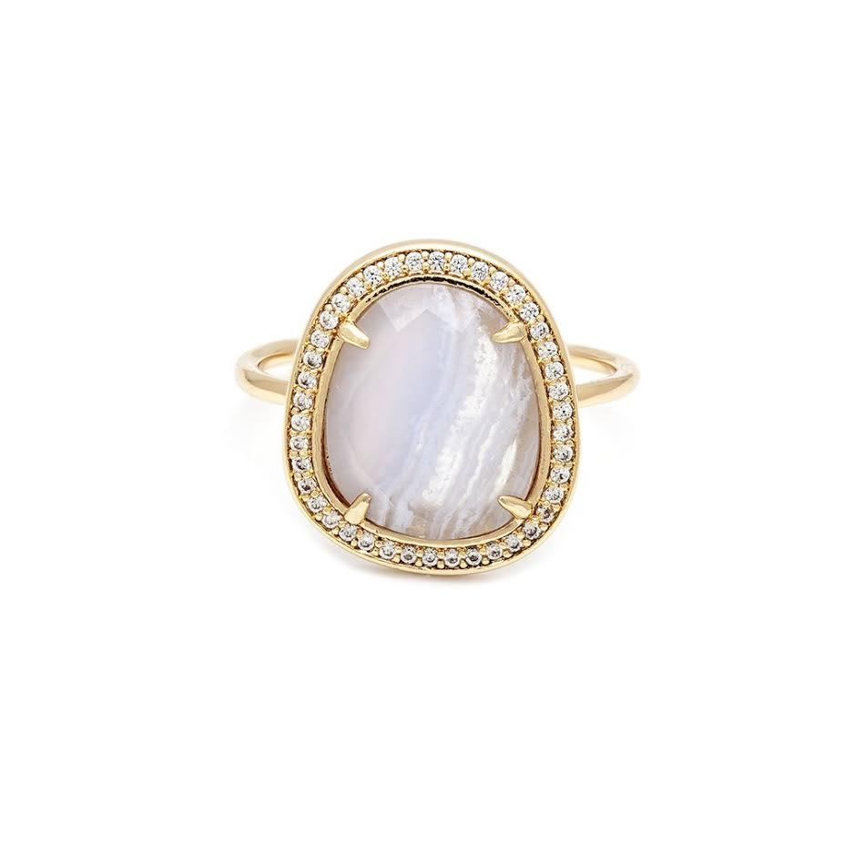 MELANIE AULD - STONE SLICE RING IN BLUE LACE AGATE