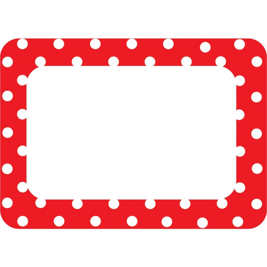 TCR 5539 RED POLKA DOTS 2 NAMETAG