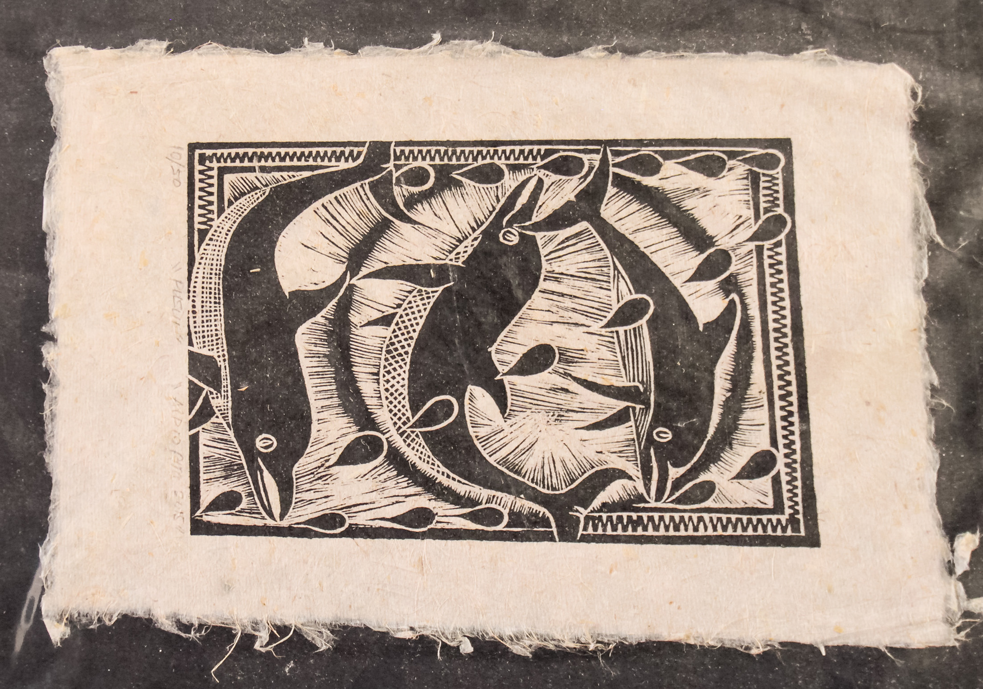 "A4 ""Pusui"" Dolphins Woodblock print on Herekeke Paper 10/50"