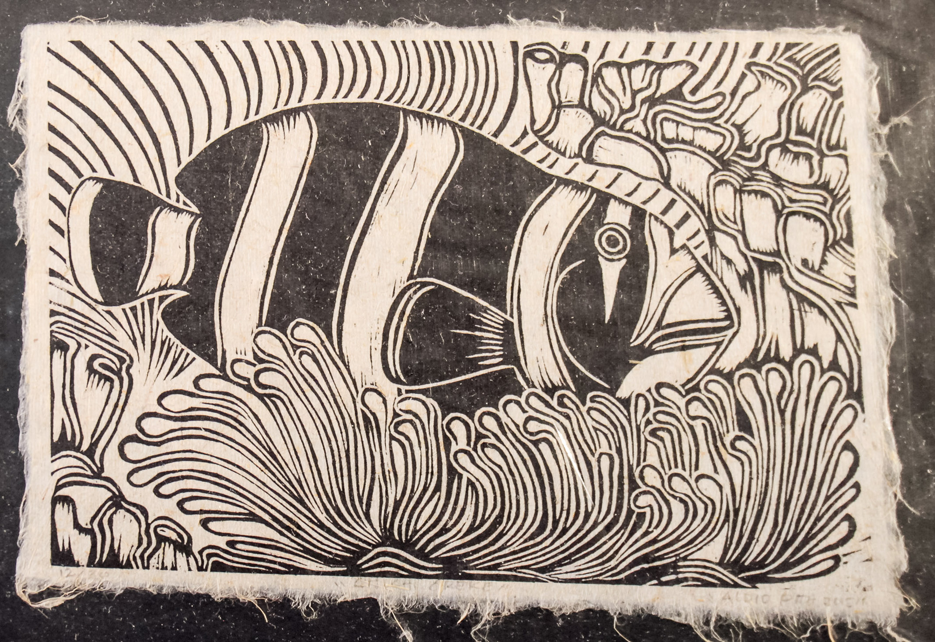 A4 Chich Okeke Fish Woodblock print on Herekeke Paper 12/50