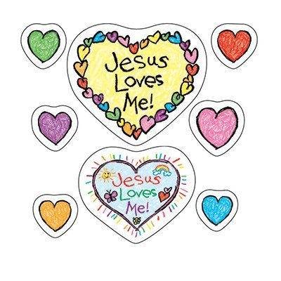 CD 268018 JESUS LOVES ME SHAPE STICKERS