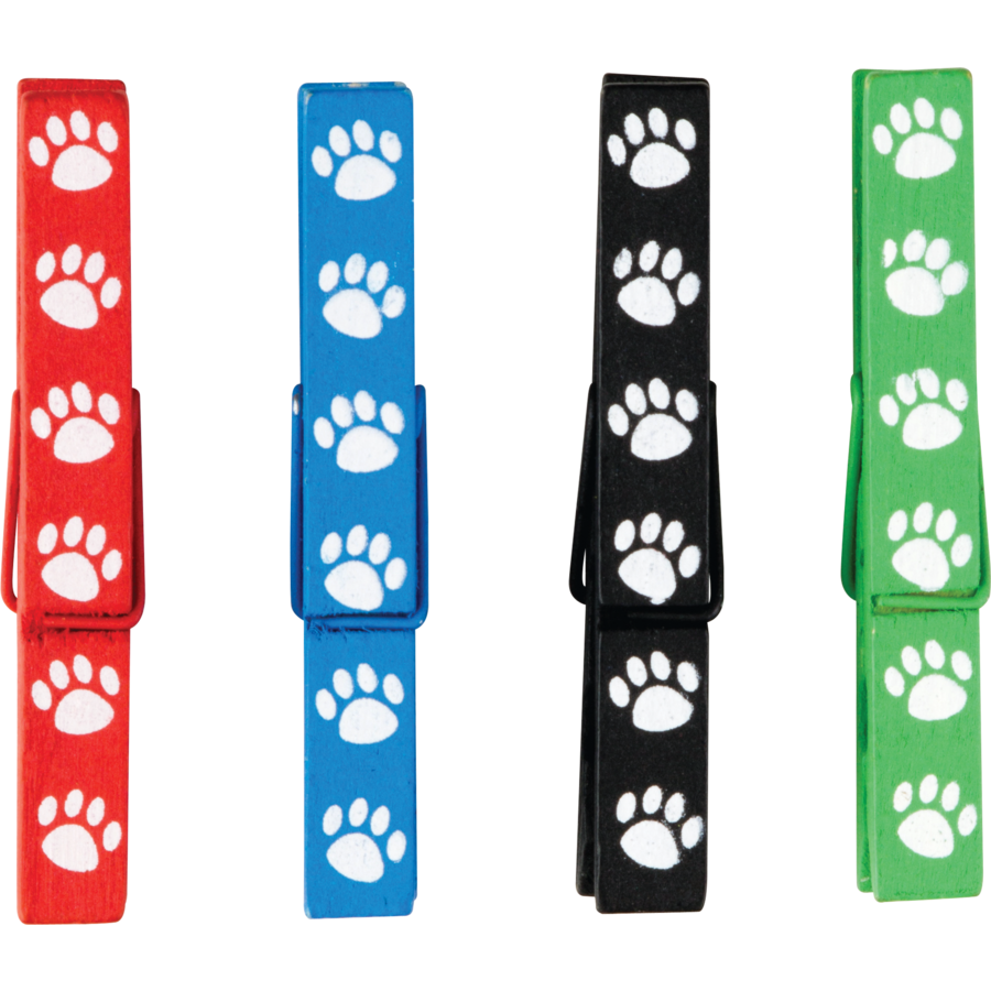 TCR 77251 PAW PRINTS MAGNETIC CLOTHESPINS