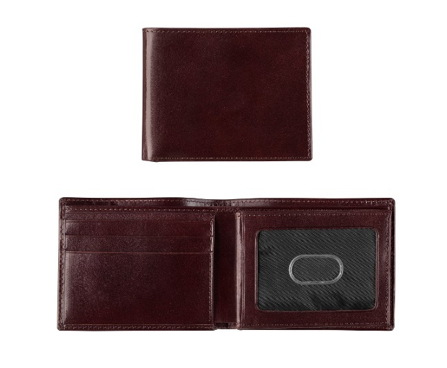 JOHNSTON & MURPHY - ITALIAN LEATHER FLIP BILLFOLD WALLET IN MAHOGANY