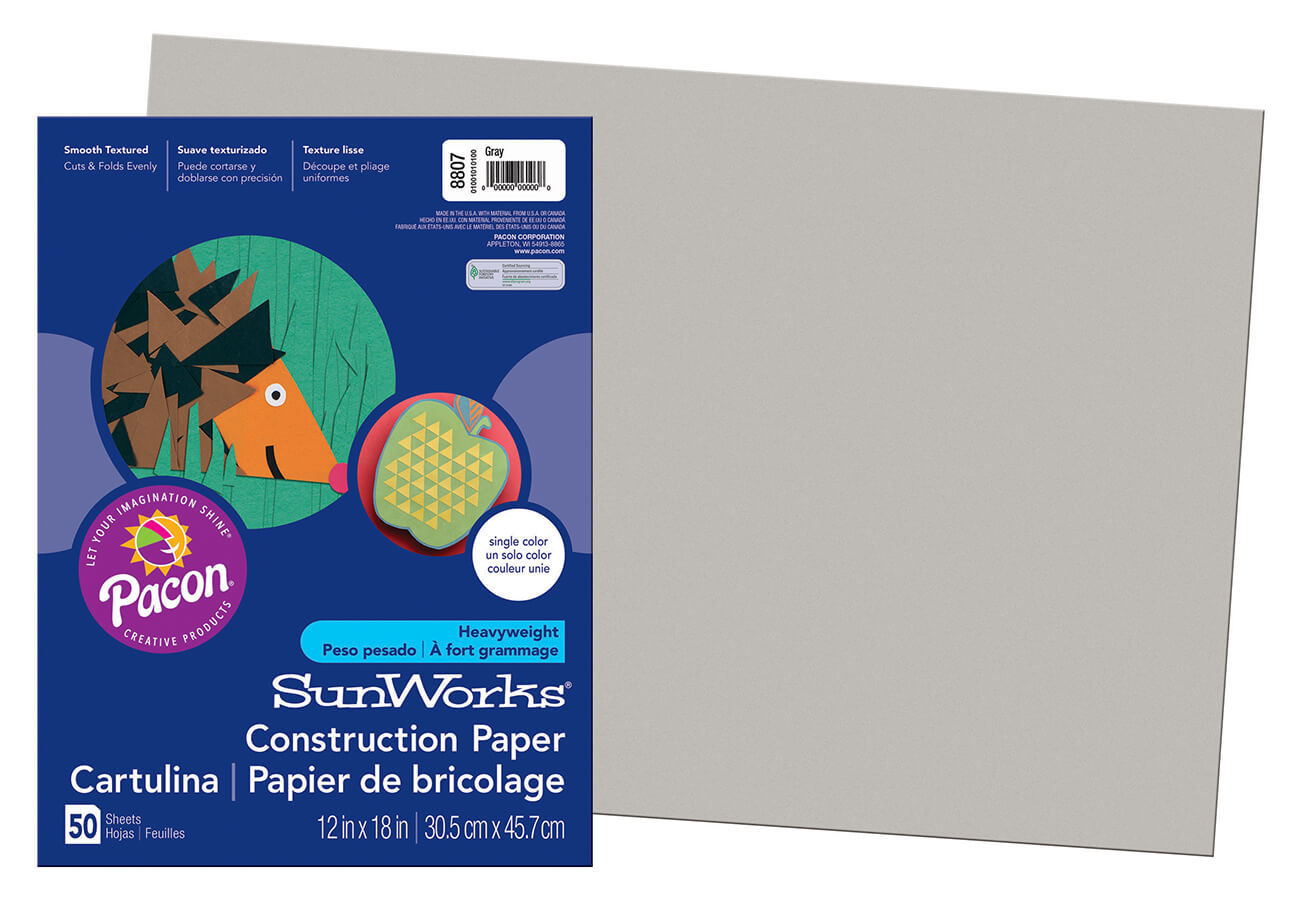 PA 8807 CONSTRUCTION PAPER 12 X 18 GRAY