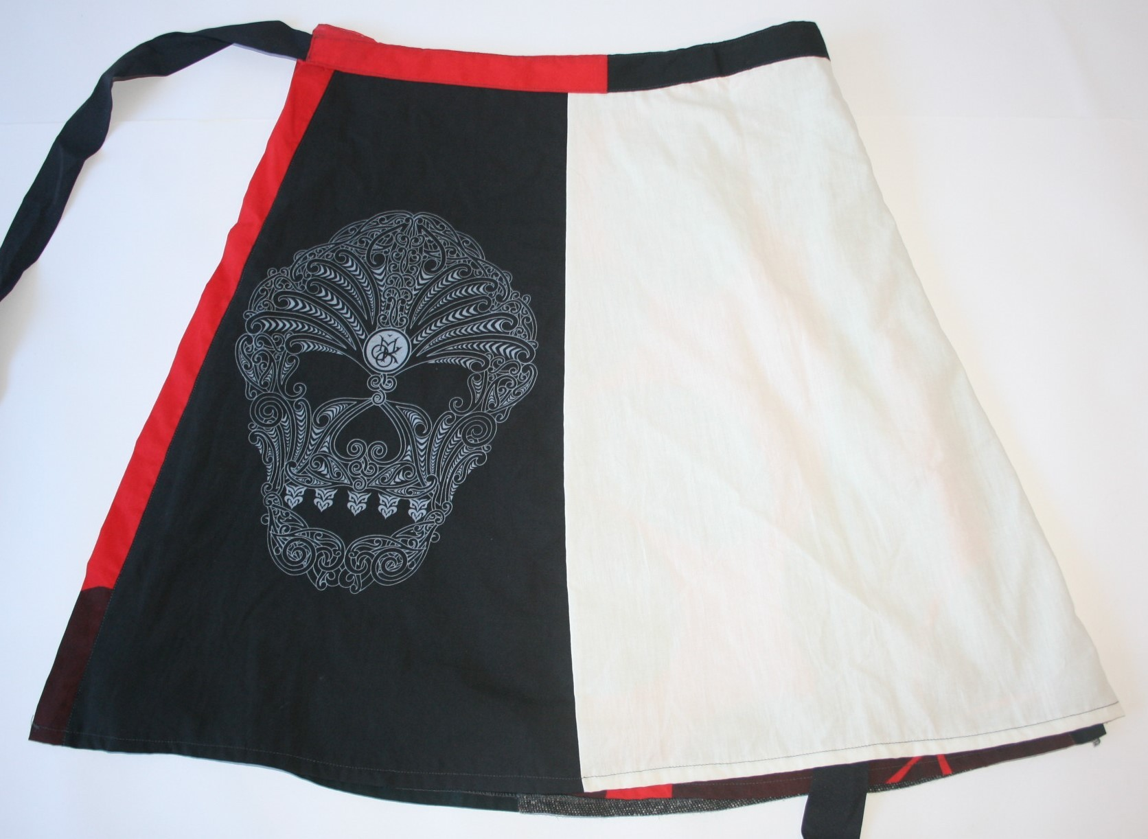 Black, White and Red Wrap Skirt with Moko Screen Print