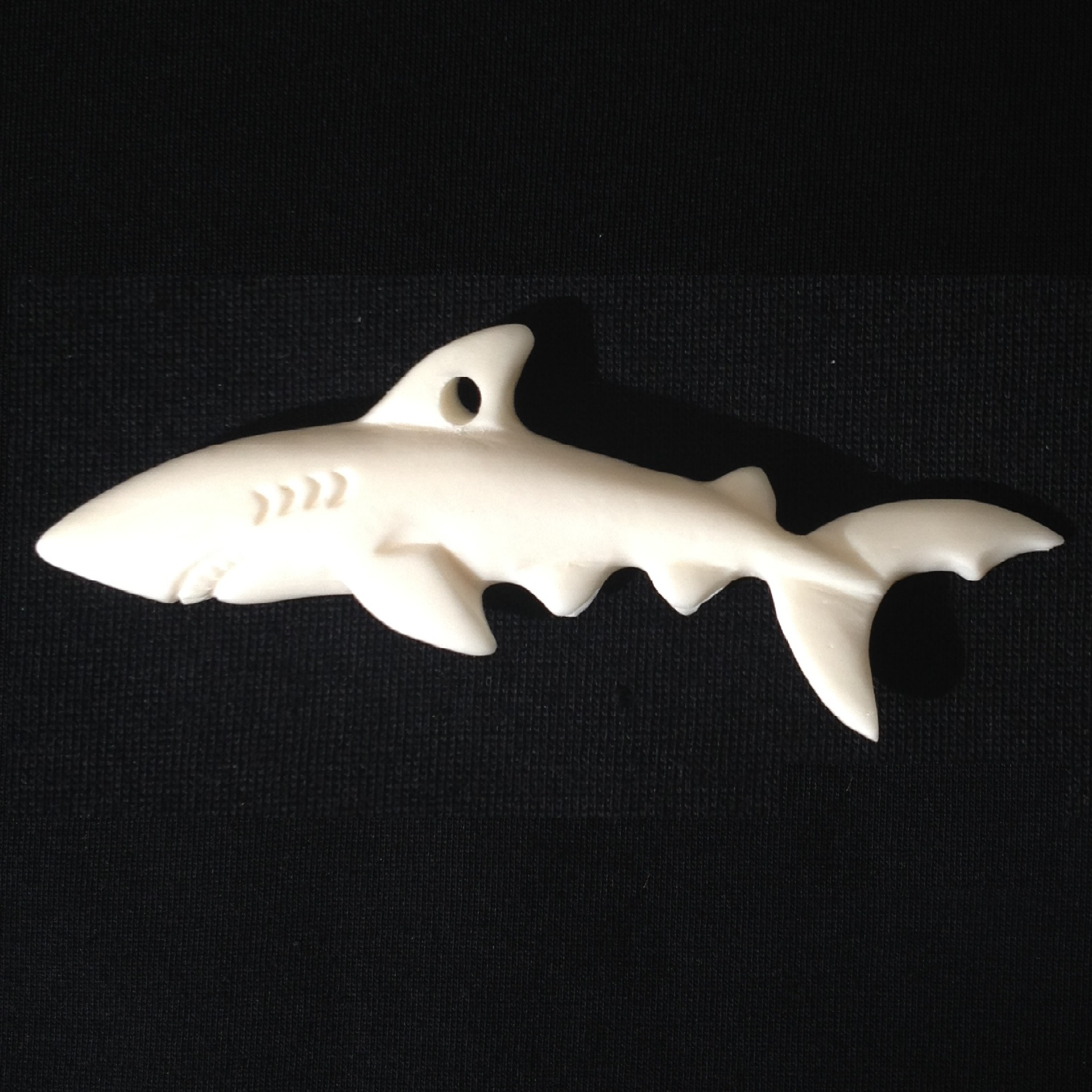 Carved Bone Mako Shark Straight
