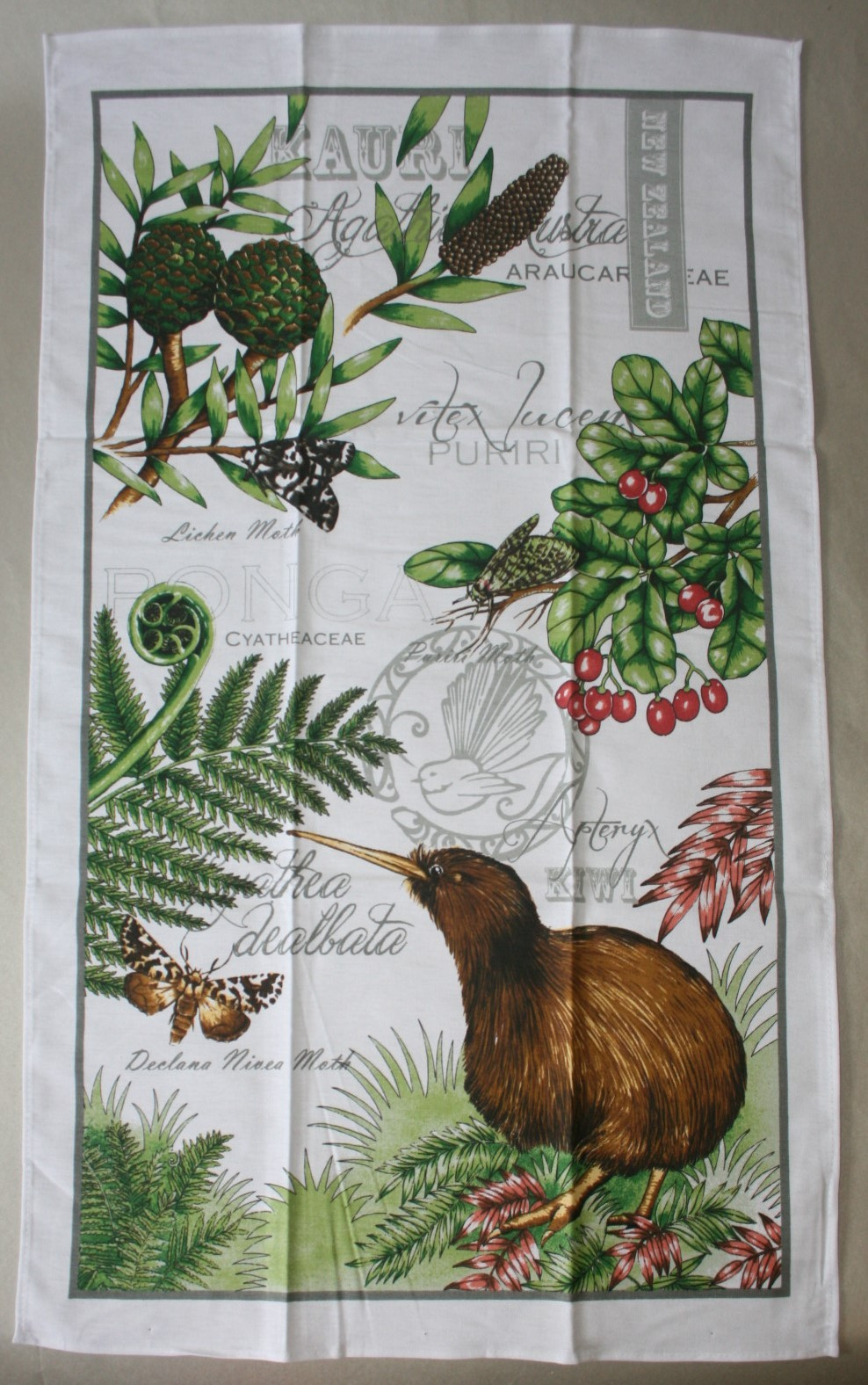 Kiwi and Ferns Teatowel