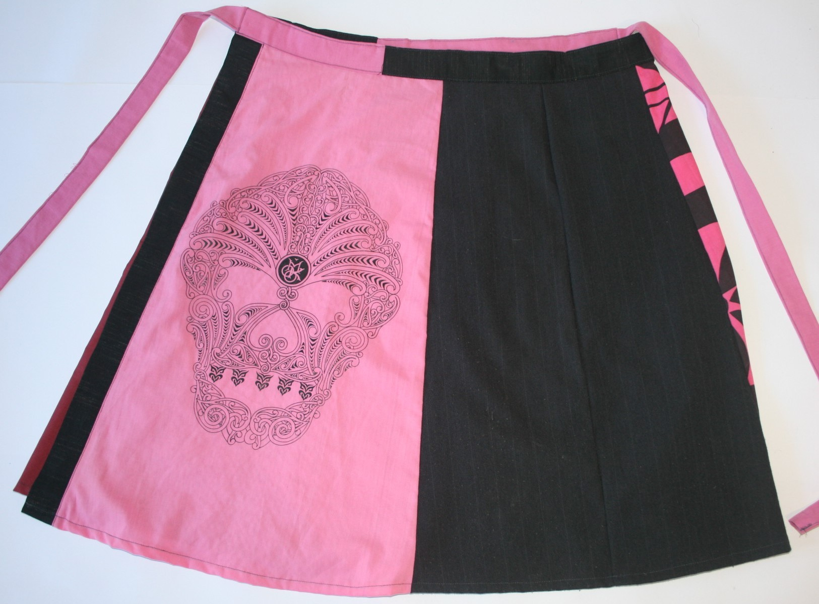 Pink and Black Wrap Skirt with Moko Screen Print