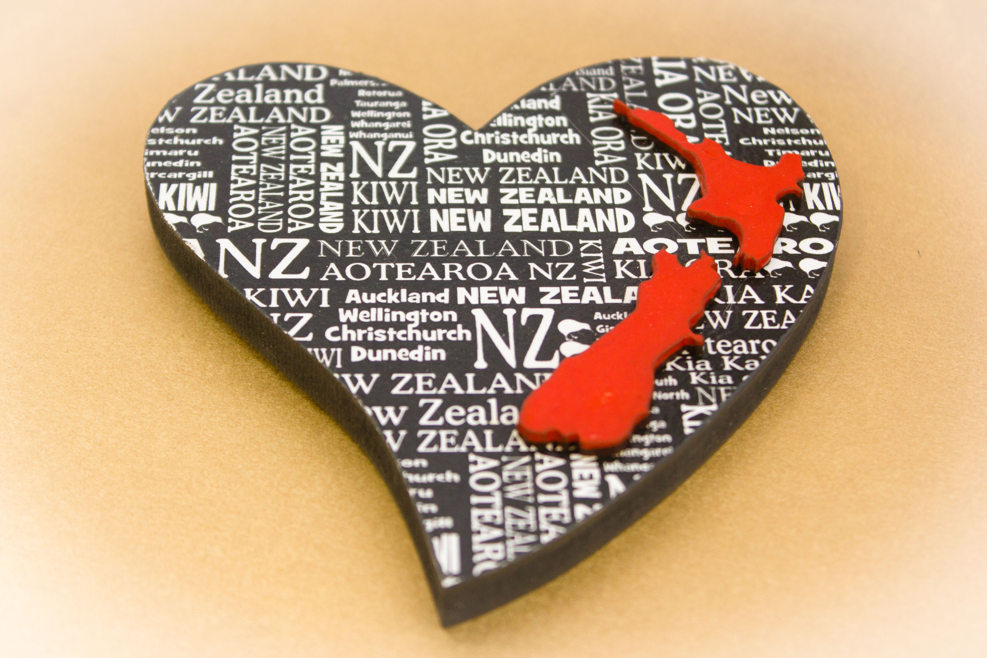 Small Heart NZ Shape Red Place Names