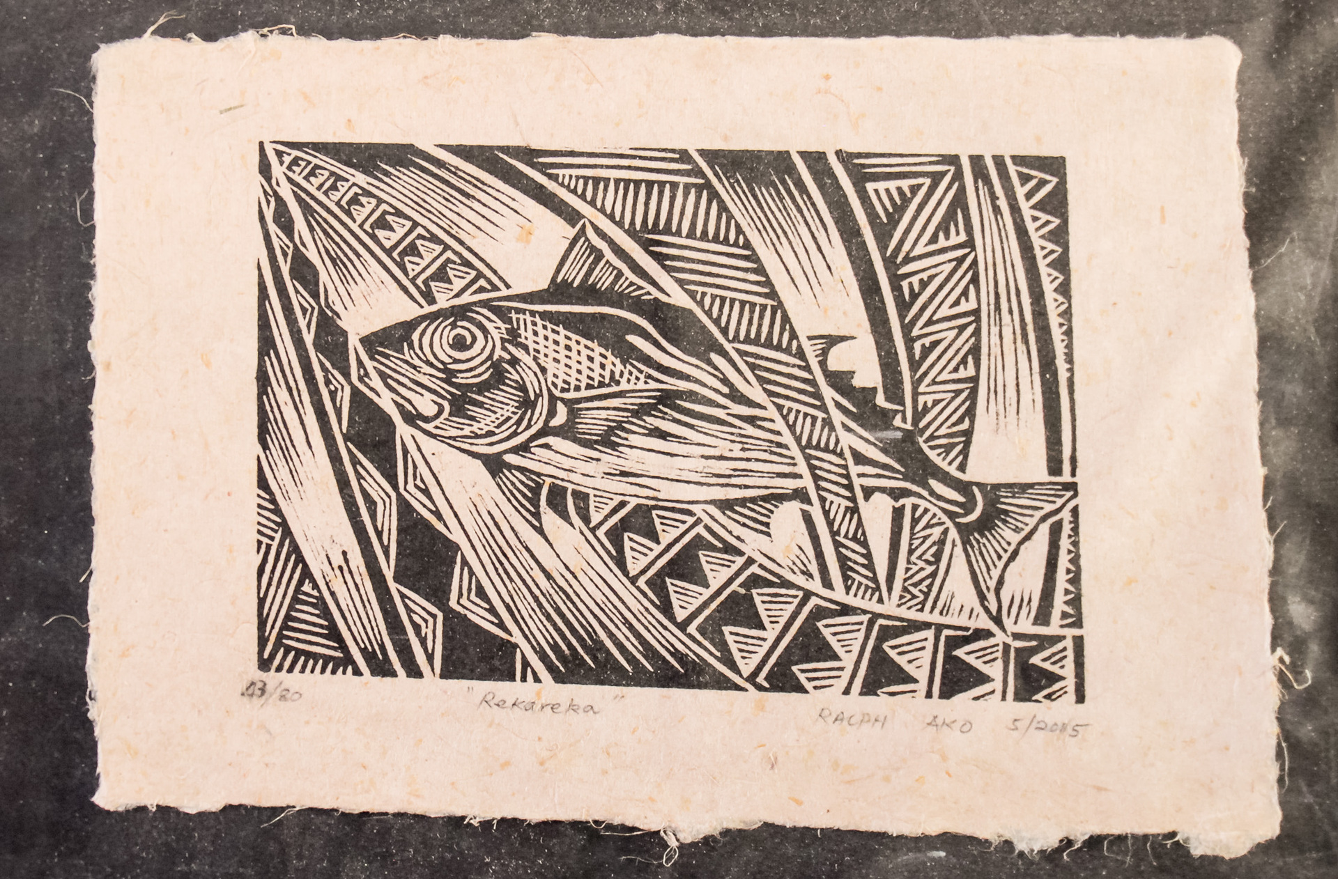 "A4 ""Rekareka"" Fish Woodblock print on Herekeke Paper 43/80"