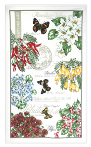 Flowers and Butterfly Teatowel