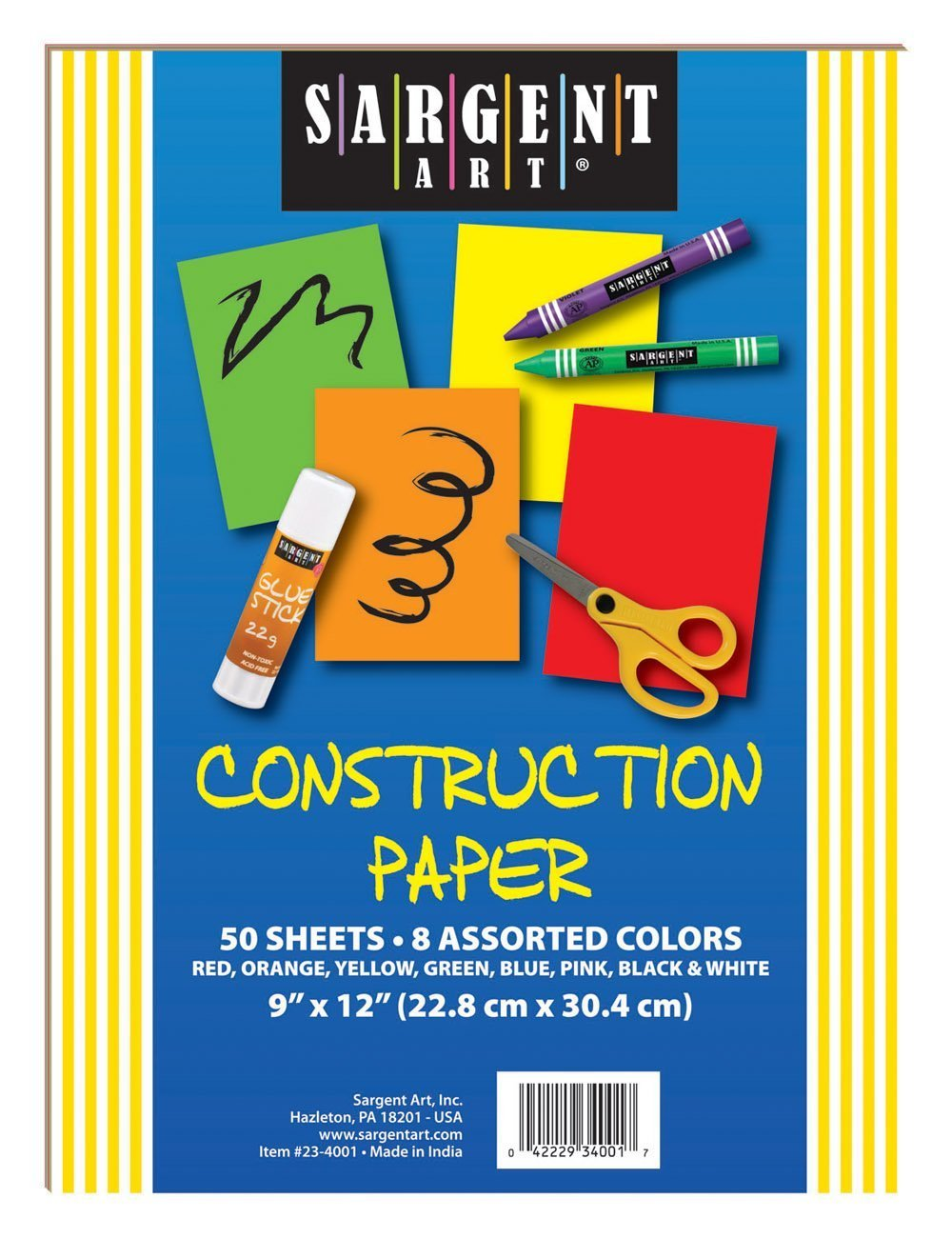 SA 234001 50 SHEETS 9X12 CONSTRUCTION PAPER ASST.