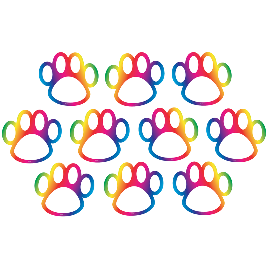 TCR 5391 RAINBOW PAW PRINTS CUTOUTS