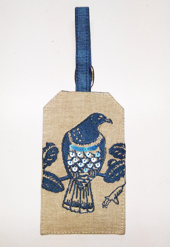 Luggage Tag Navy Woodpigeon
