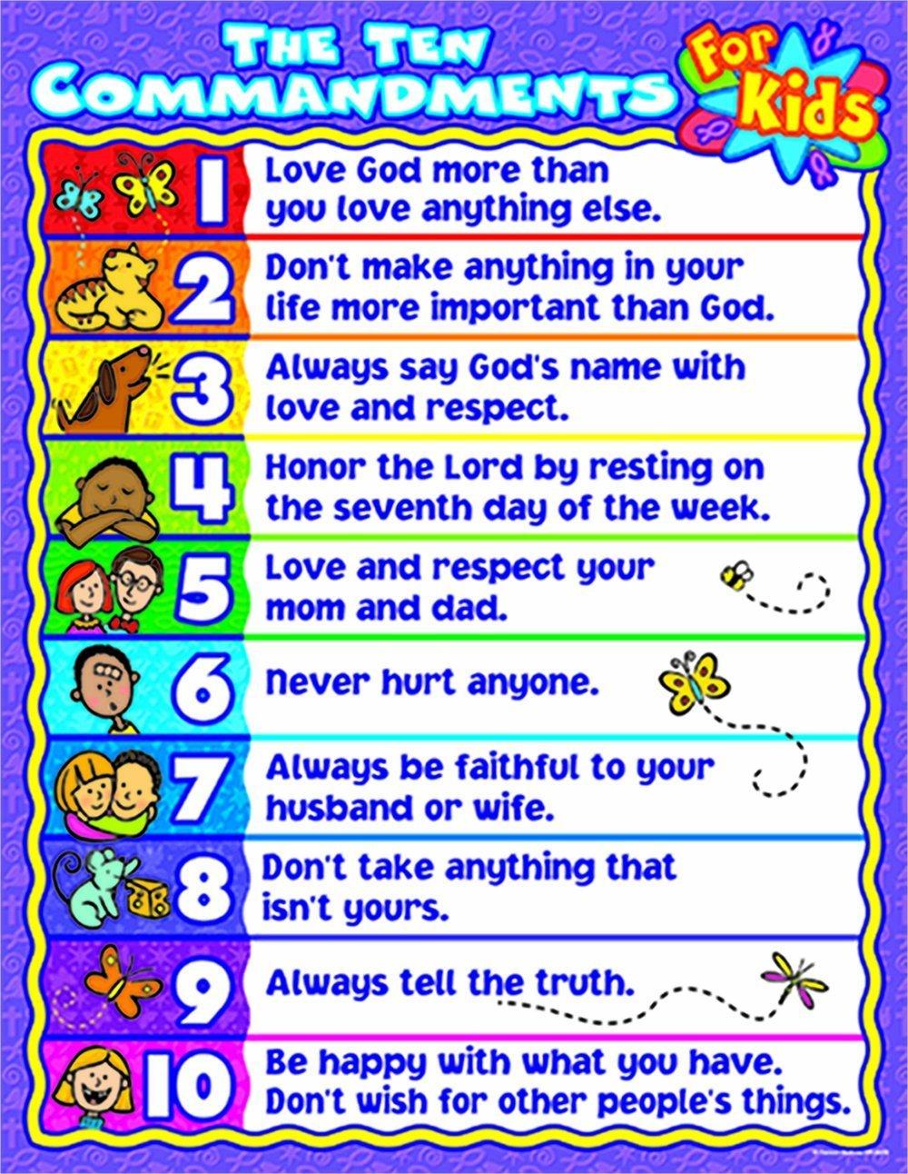 CD 6359 TEN COMMANDMENTS FOR KIDS CHART