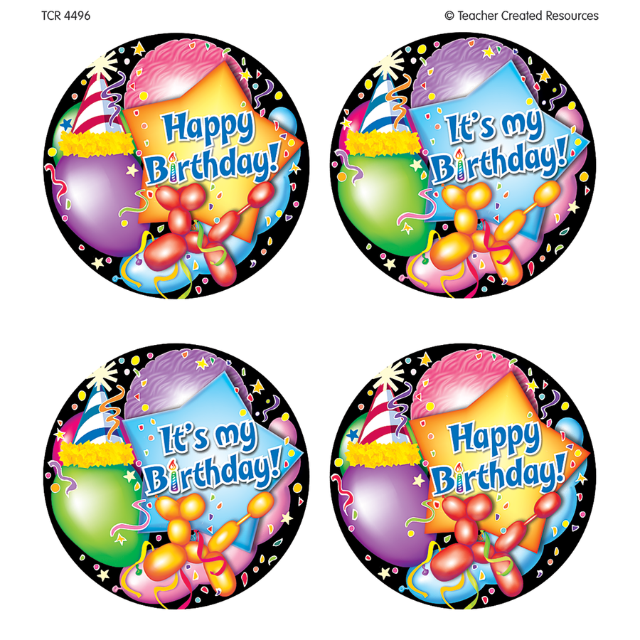 TCR 4496 32 WEAR 'EM BADGES HAPPY BIRTHDAY