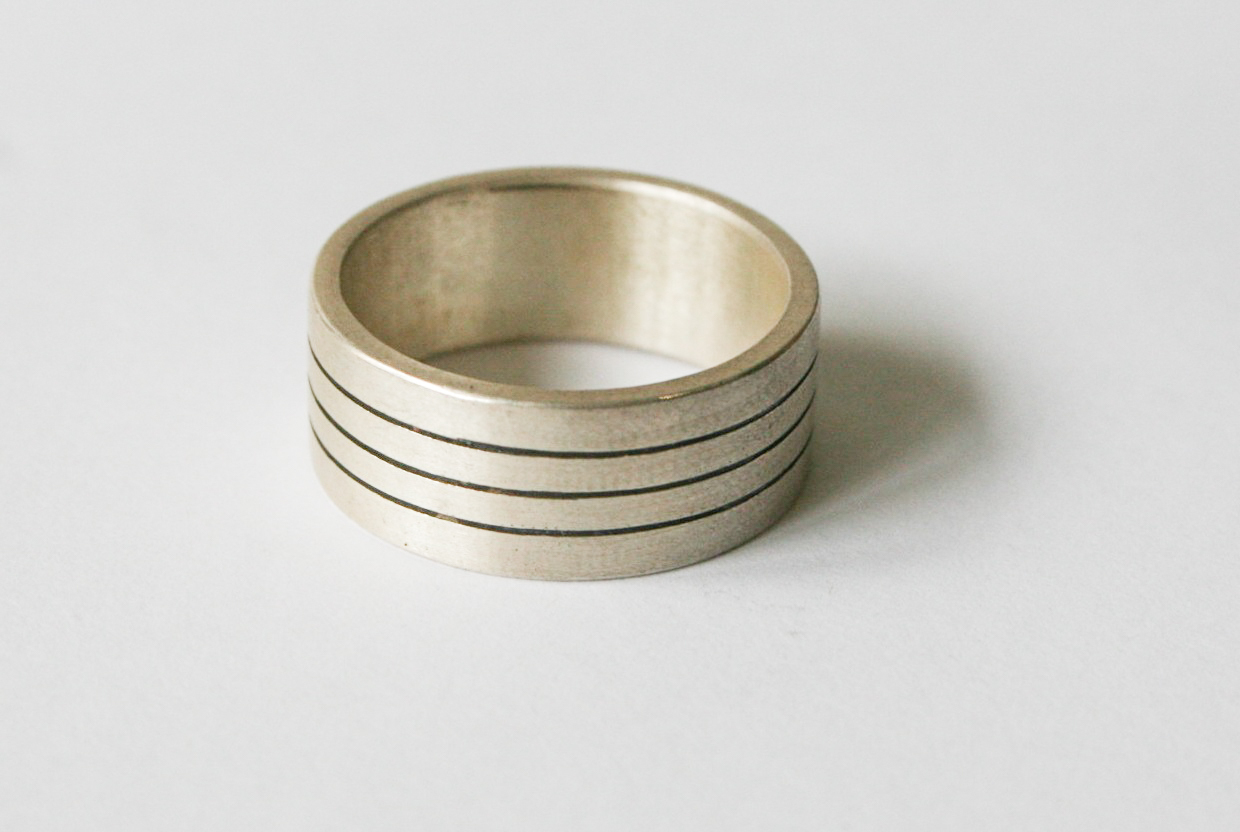 Three Line Sterling Silver Ring