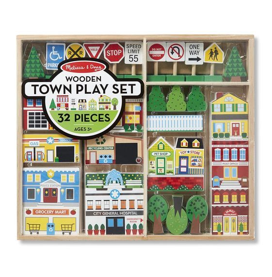 MD 4796 WOODEN TOWN PLAY SET