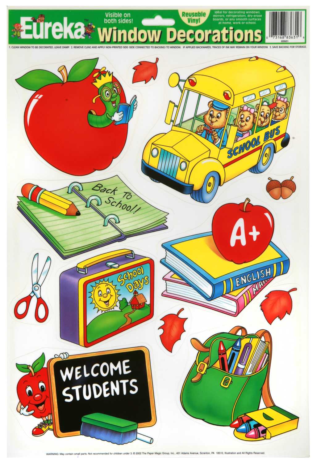 EU 836310 SCHOOL THEME WINDOW CLING