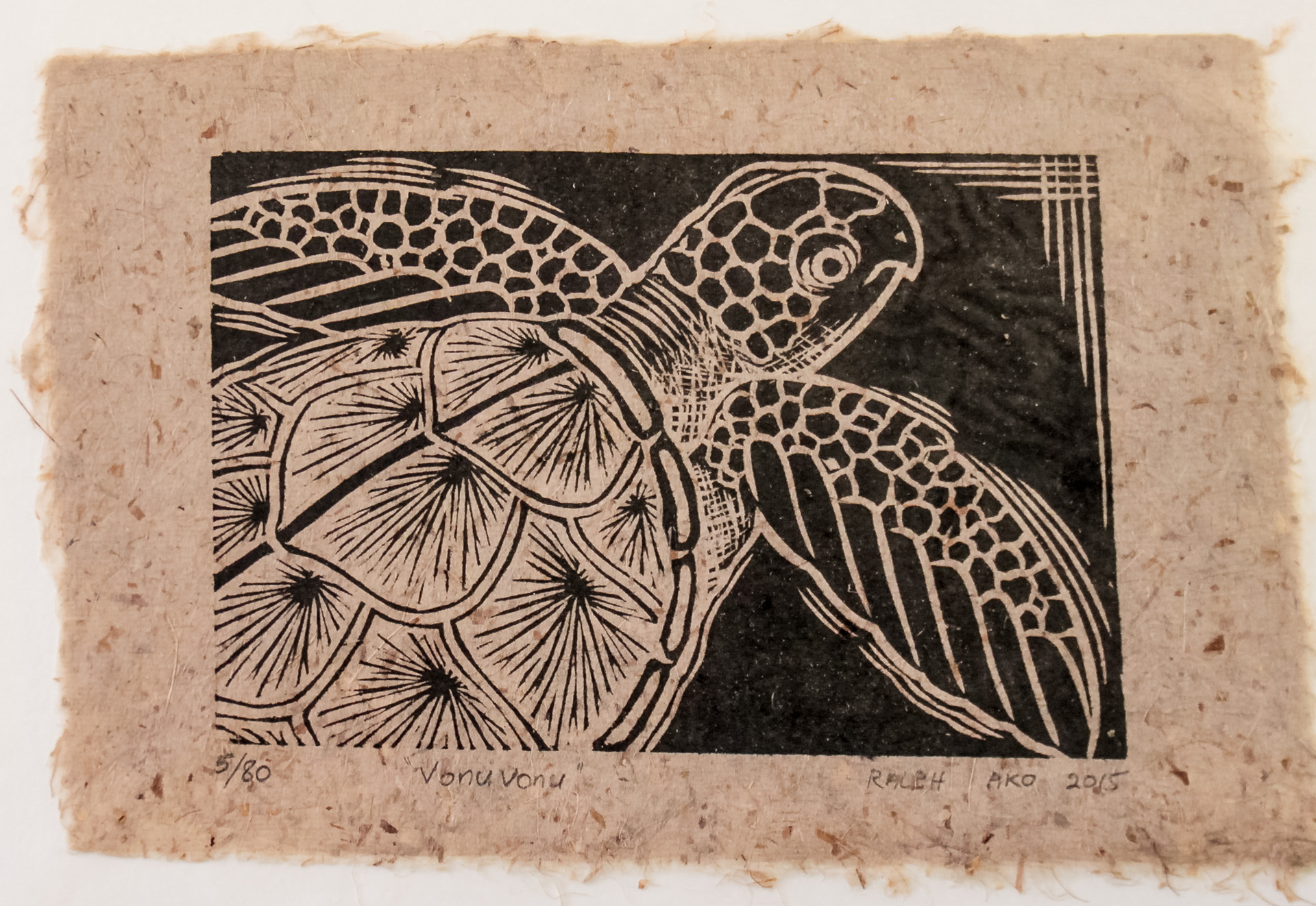 "A4 ""Vonu Vonu Turtle Woodblock print on Herekeke Paper 5/80"