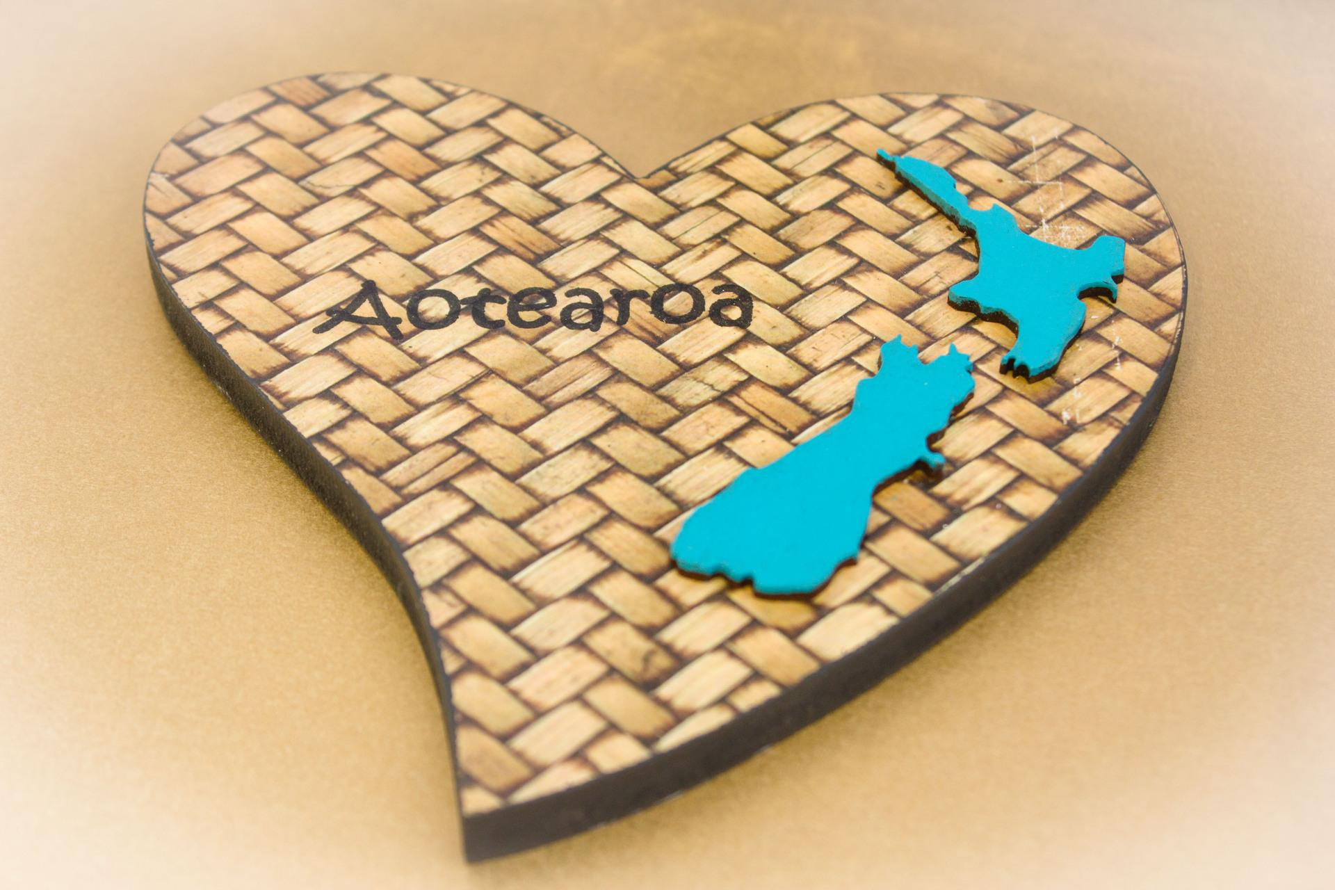 Large Heart NZ Shape Blue Aotearoa Weaving