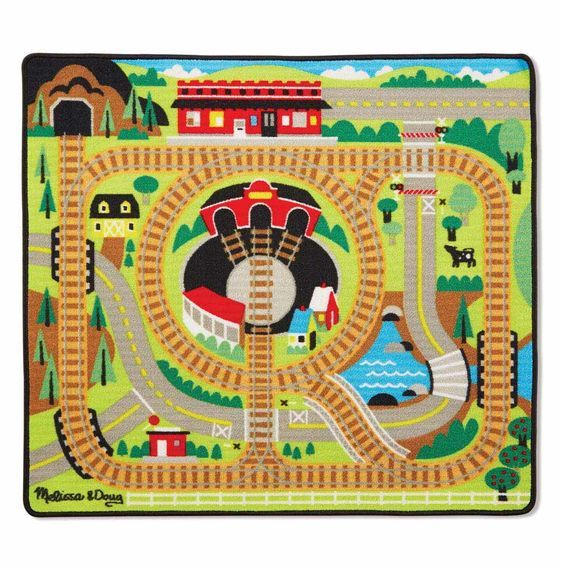 MD 9554 ROUND THE RAILS TRAIN RUG