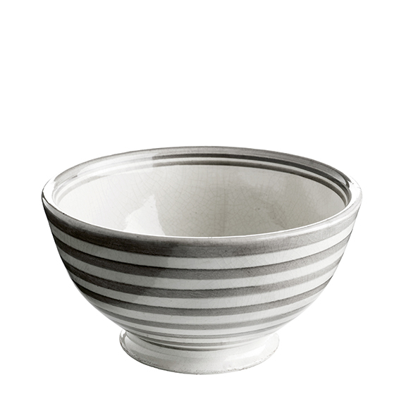 BOWL CERAMIC GREY STRIPE