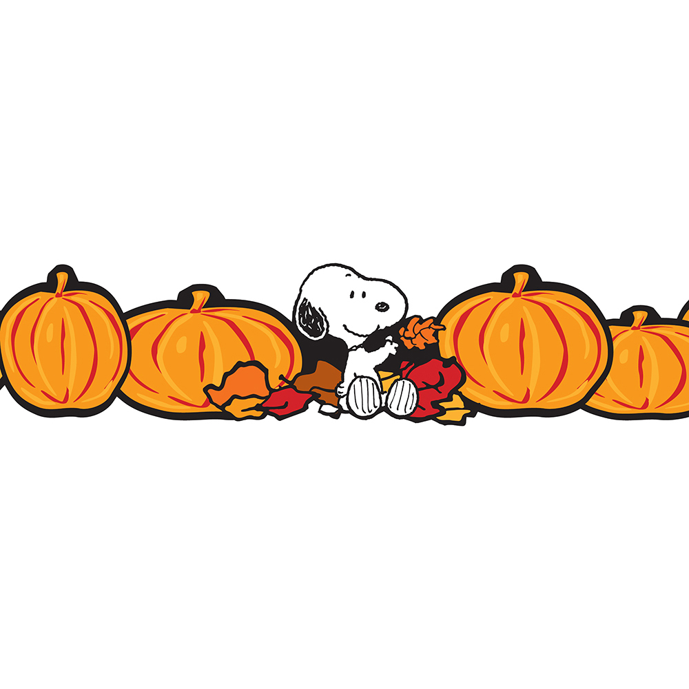 EU 845081 PEANUTS FALL PUMPKIN EXTRA WIDE BORDER