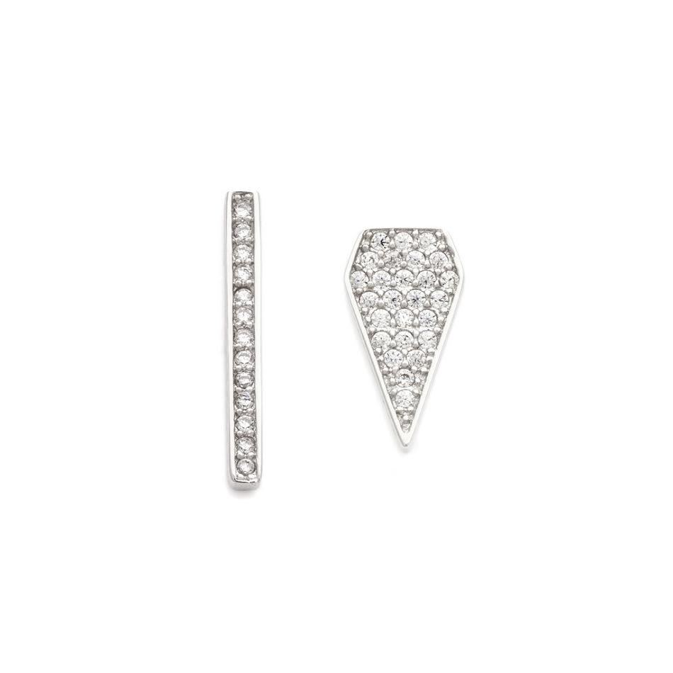 MELANIE AULD - MISMATCHED PAVE STUDS IN SILVER
