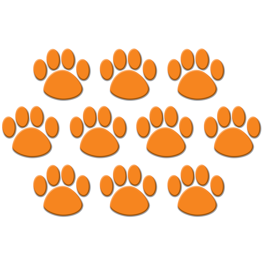 TCR 4649 ORANGE PAW PRINTS CUTOUTS