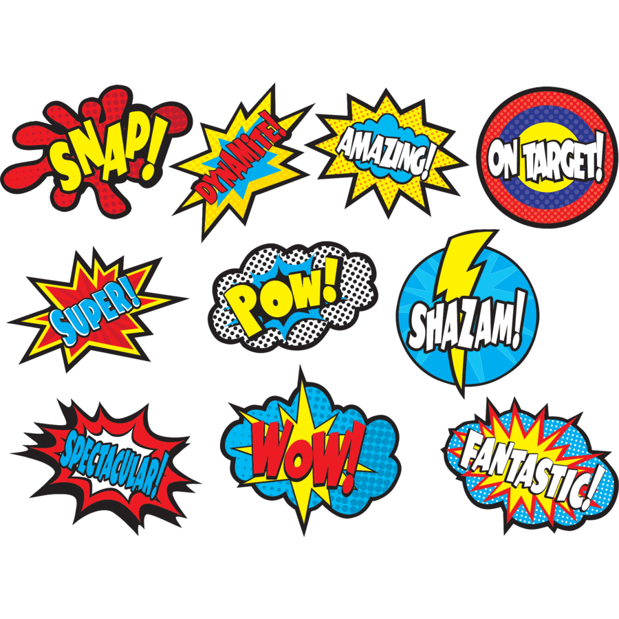 TCR 5835 SUPERHERO SAYINGS CUTOUTS