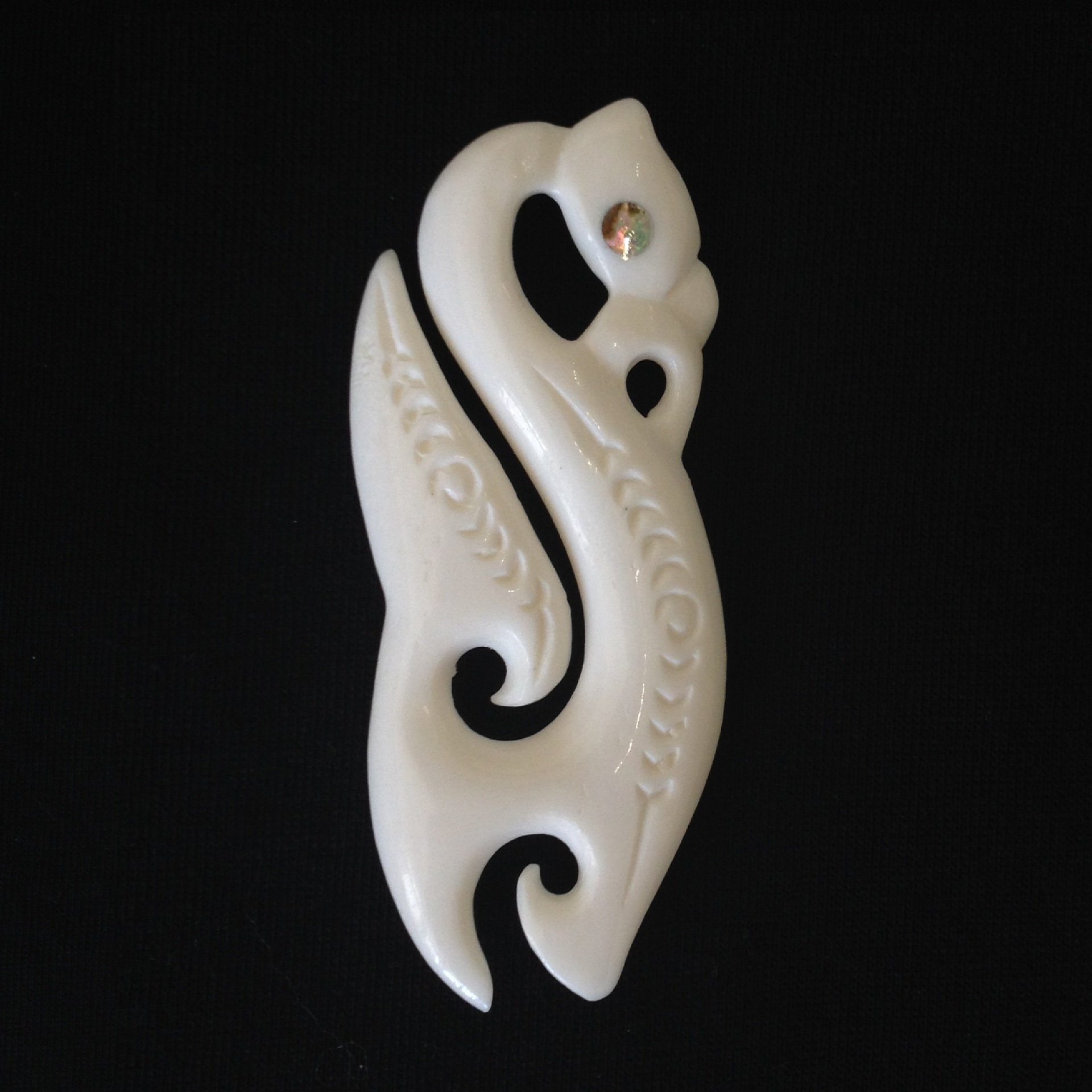 Bone Manaia Matau (Hook) with Koru
