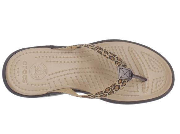 0c5a83a6364f Crocs Women s Capri Leopard print Flip flop - Espresso Gold