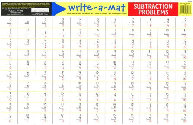 MD 5007 SUBTRACTION PROBLEMS WRITE A MAT