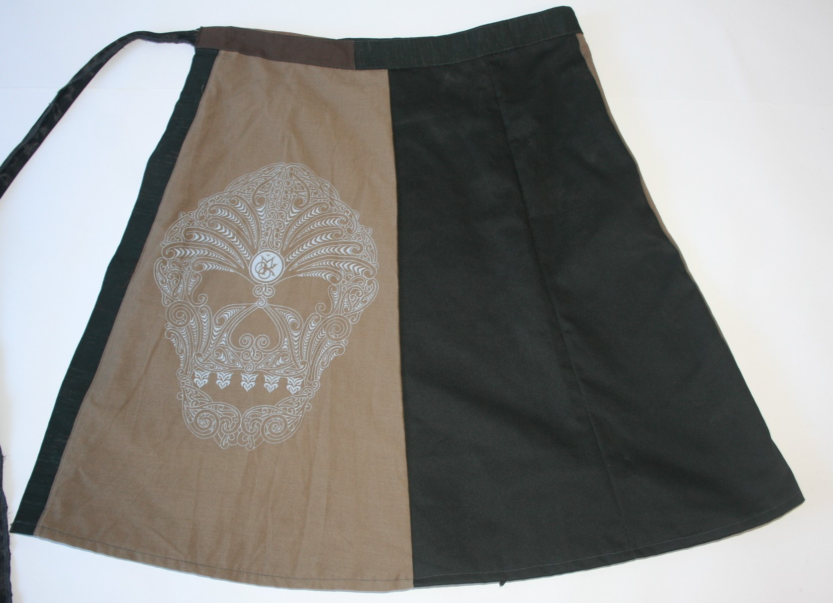 Black and Beige Wrap Skirt with Moko Screen Print