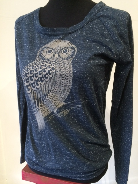 Womens L/S Slouch Crew Morepork Midnight Blue