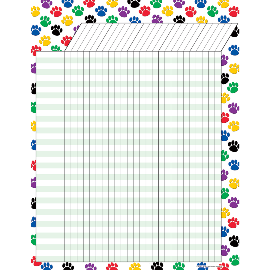 TCR 7622 COLORFUL PAW PRINTS INCENTIVE CHART