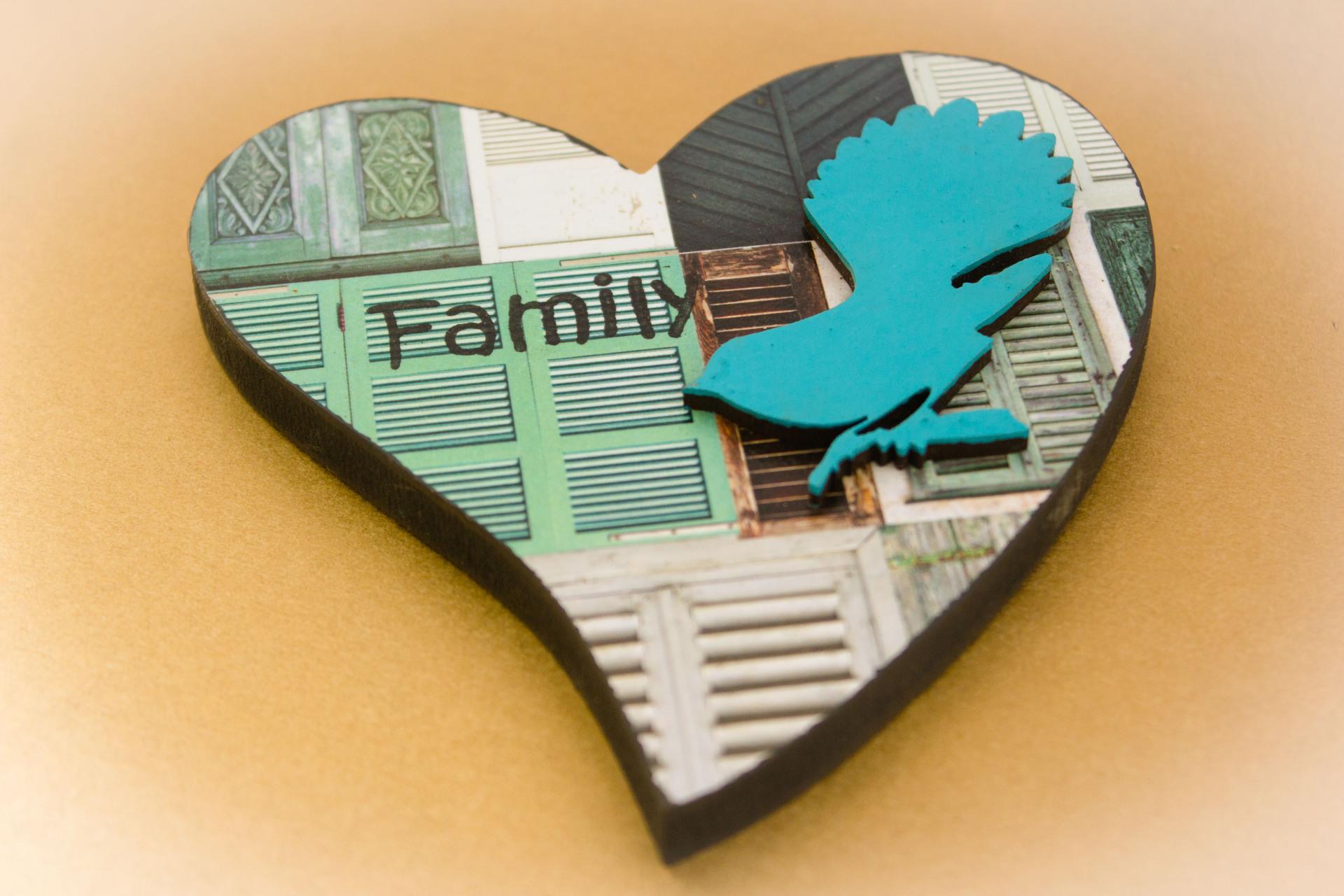 Small Heart Fantail Shape Blue Aroha Wood Planks