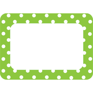 TCR 5174 LIME POLKA DOTS 2 NAME TAGS/LABELS