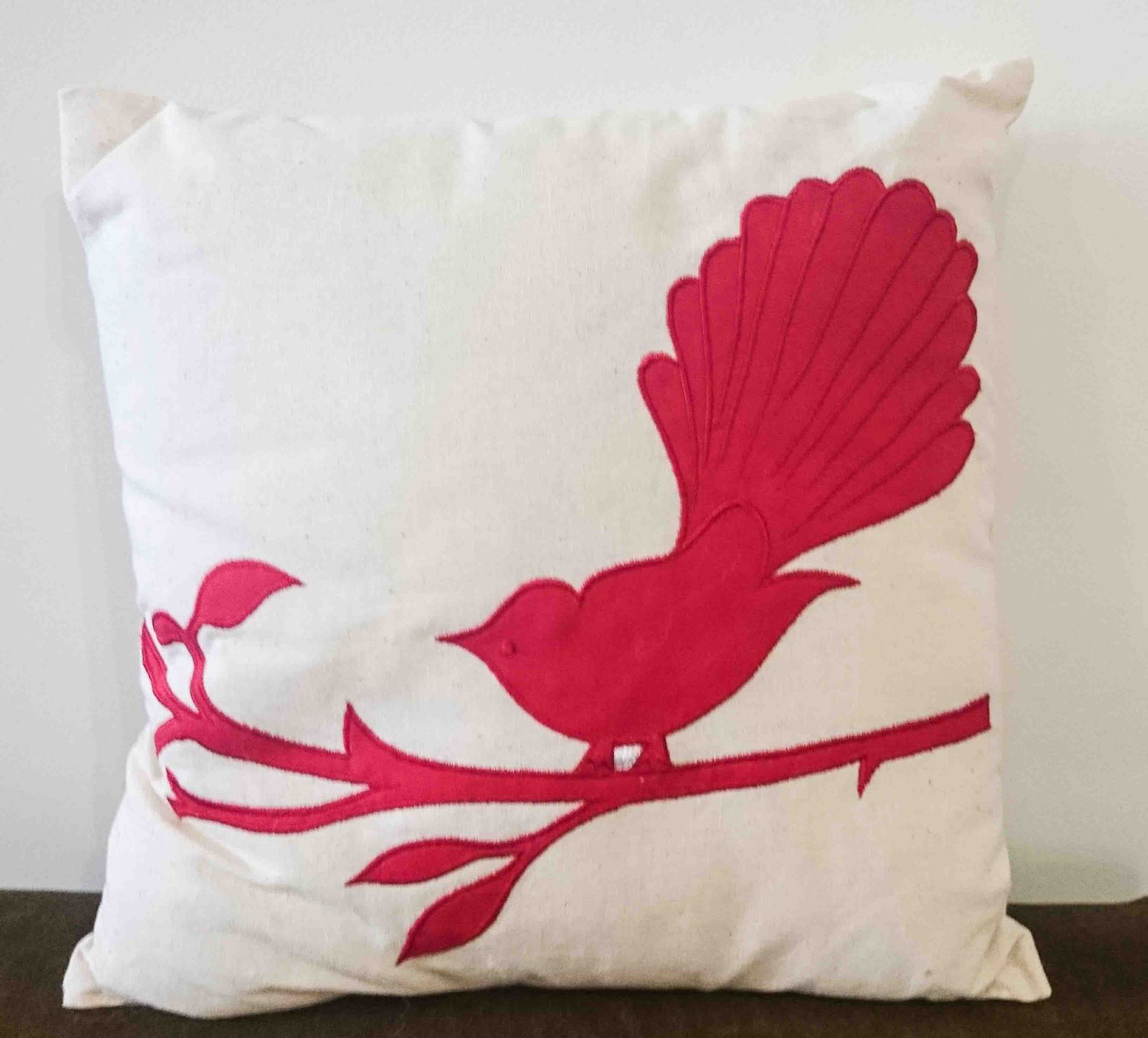 Cushion Fantail on Branch Red