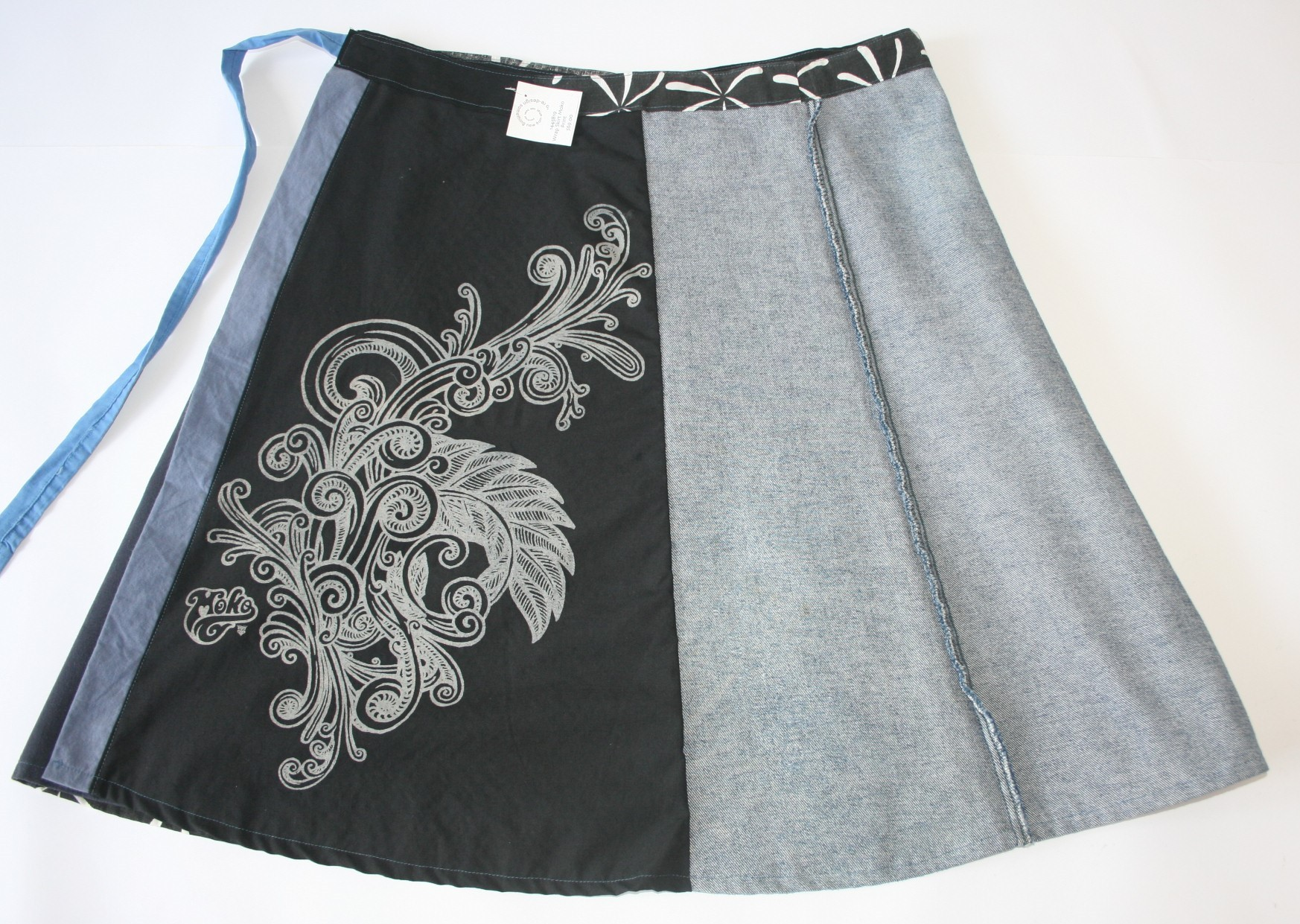 Blue and Black Wrap Skirt with Moko Screen Print