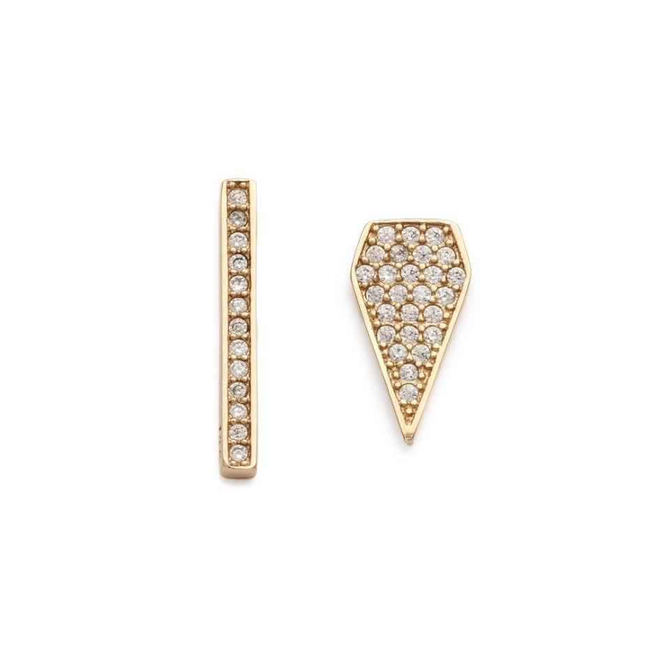 MELANIE AULD - MISMATCHED PAVE STUDS IN GOLD