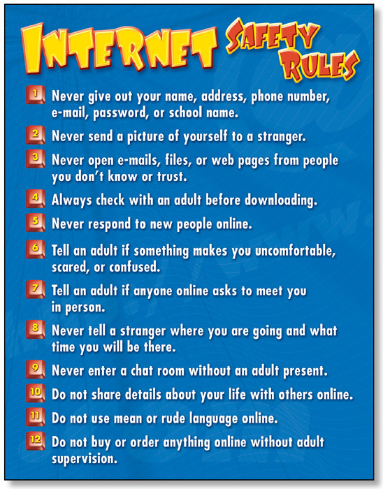 NS 3306 INTERNET SAFETY RULES CHART