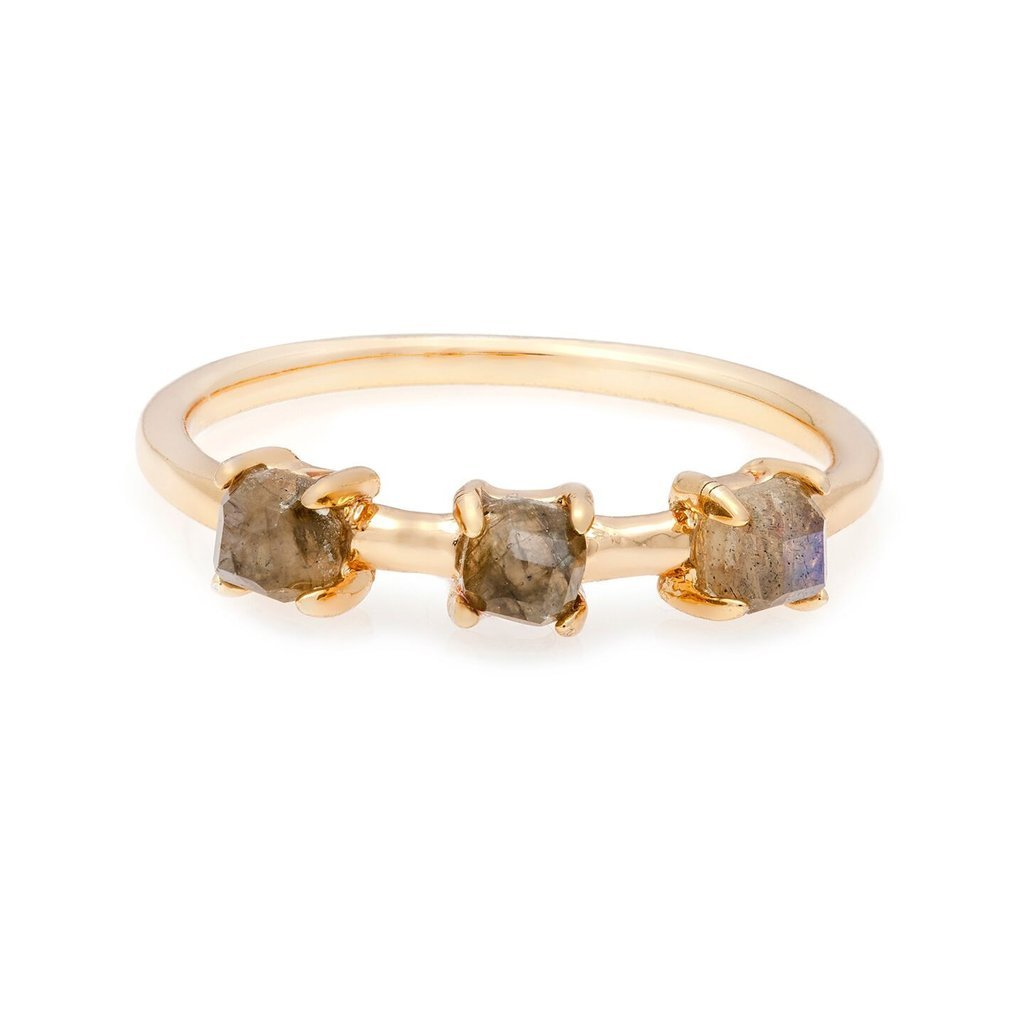 MELANIE AULD - 3 STONE BAND RING IN LABRADORITE